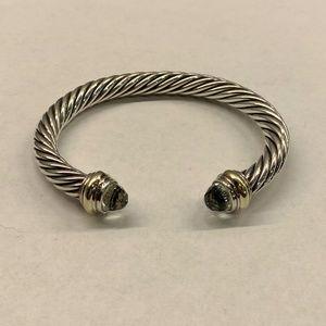 David Yurman Prasiolite & 14k gold Cable Bracelet